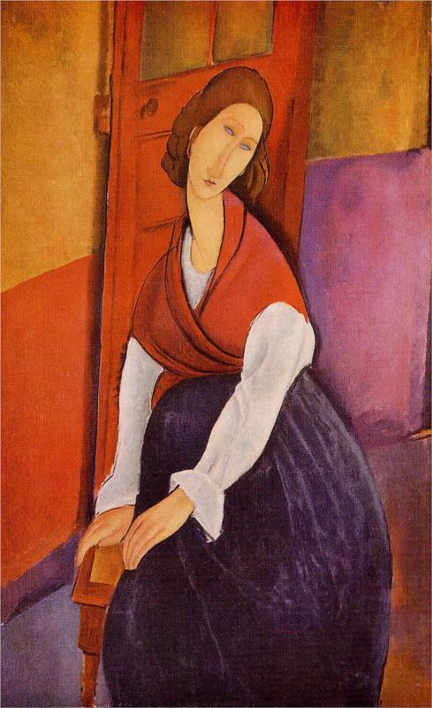 Jeanne Hebuterne in Red Shawl - Amedeo Modigliani Paintings