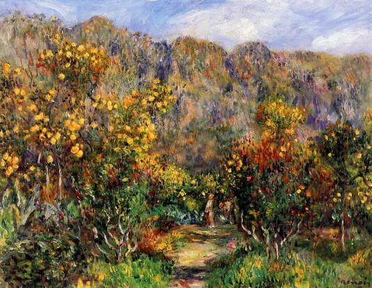Landscape with Mimosas ,1912 - Pierre-Auguste Renoir painting on canvas