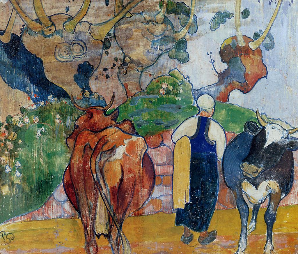 Peasant Woman and Cows in a Landscape - Paul Gauguin Painting