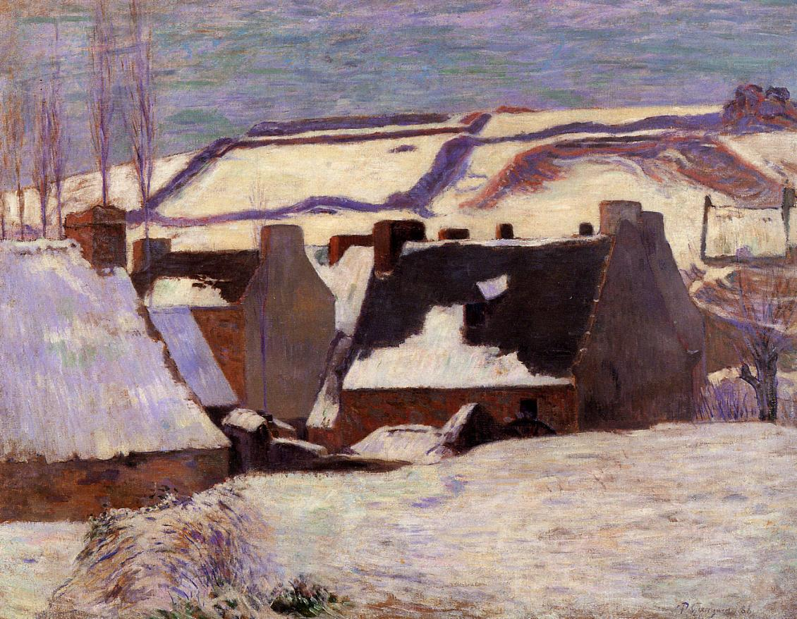Pont-Aven in the Snow - Paul Gauguin Painting