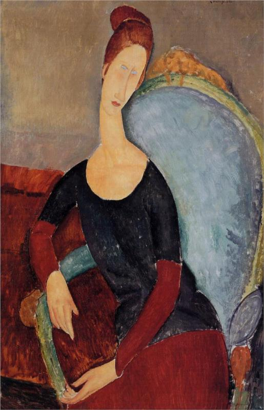Portrait of Jeanne Hebuterne in a Blue Chair - Amedeo Modigliani Paintings