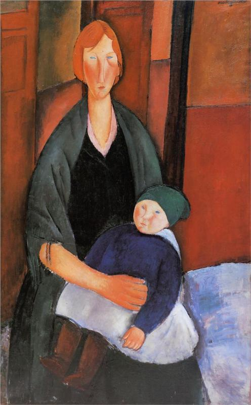 Seated Woman with Child (Motherhood) - Amedeo Modigliani Paintings
