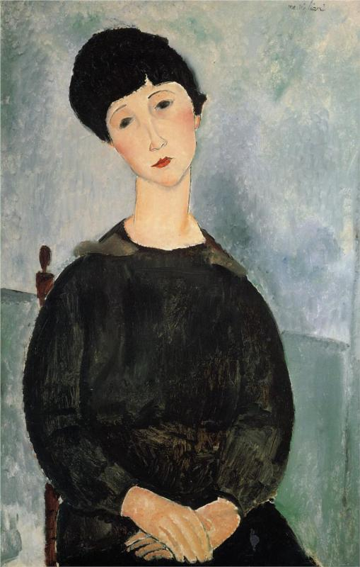 Seated Young Woman - Amedeo Modigliani Paintings