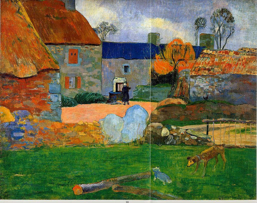 The Blue Roof - Paul Gauguin Painting