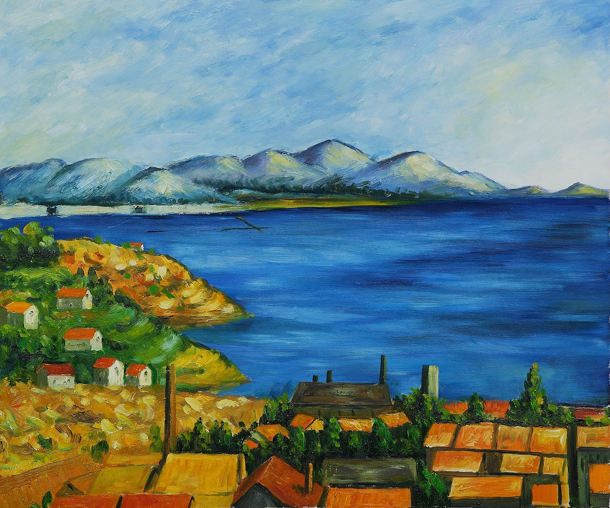 The Gulf Of Marseilles Paul Cezanne Famous Oil Painting Landscape Art Hand Painted Paintings123 Com