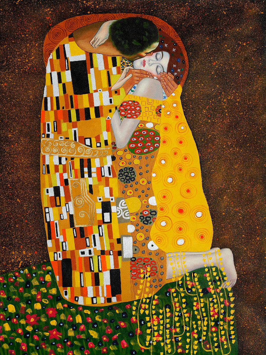 Открытка календарь климт поцелуй