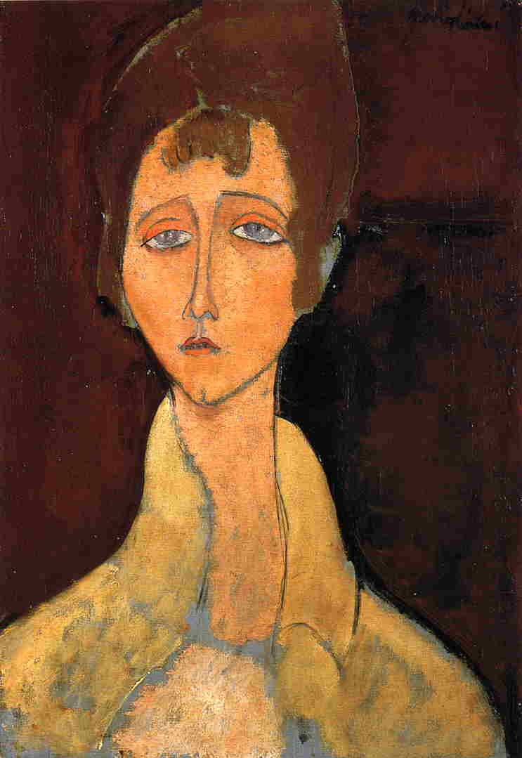 Woman in White Coat - Amedeo Modigliani Paintings