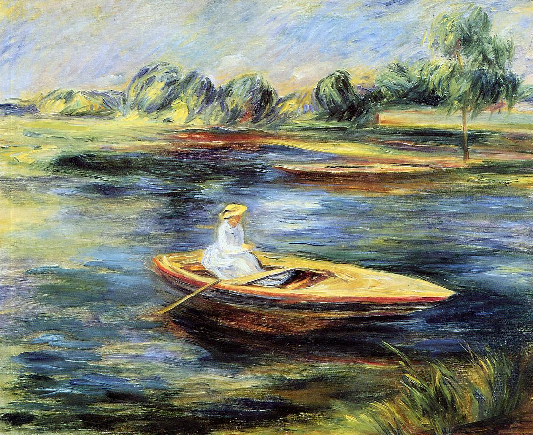 Young Woman Seated in a Rowboat - Pierre-Auguste Renoir painting on canvas