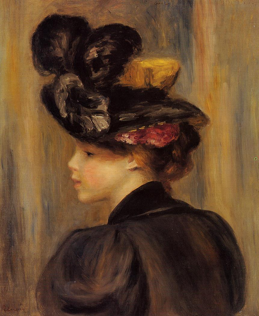 Young Woman Wearing a Black Hat - Pierre-Auguste Renoir painting on canvas