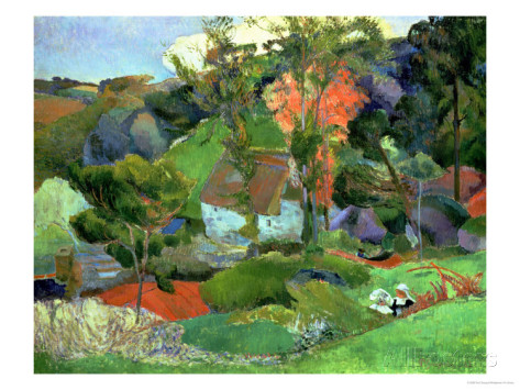 Landscape at pont aven,1888 - Paul Gauguin Painting
