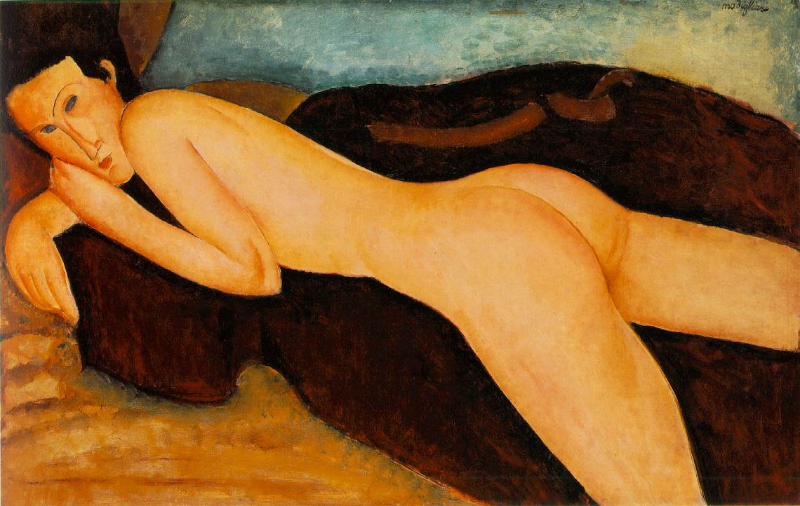 reclining nude from the back 1917 - Amedeo Modigliani Paintings